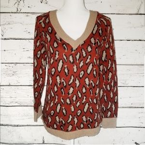 Urban Outfitters Leopard Print Red & Tan Sweater